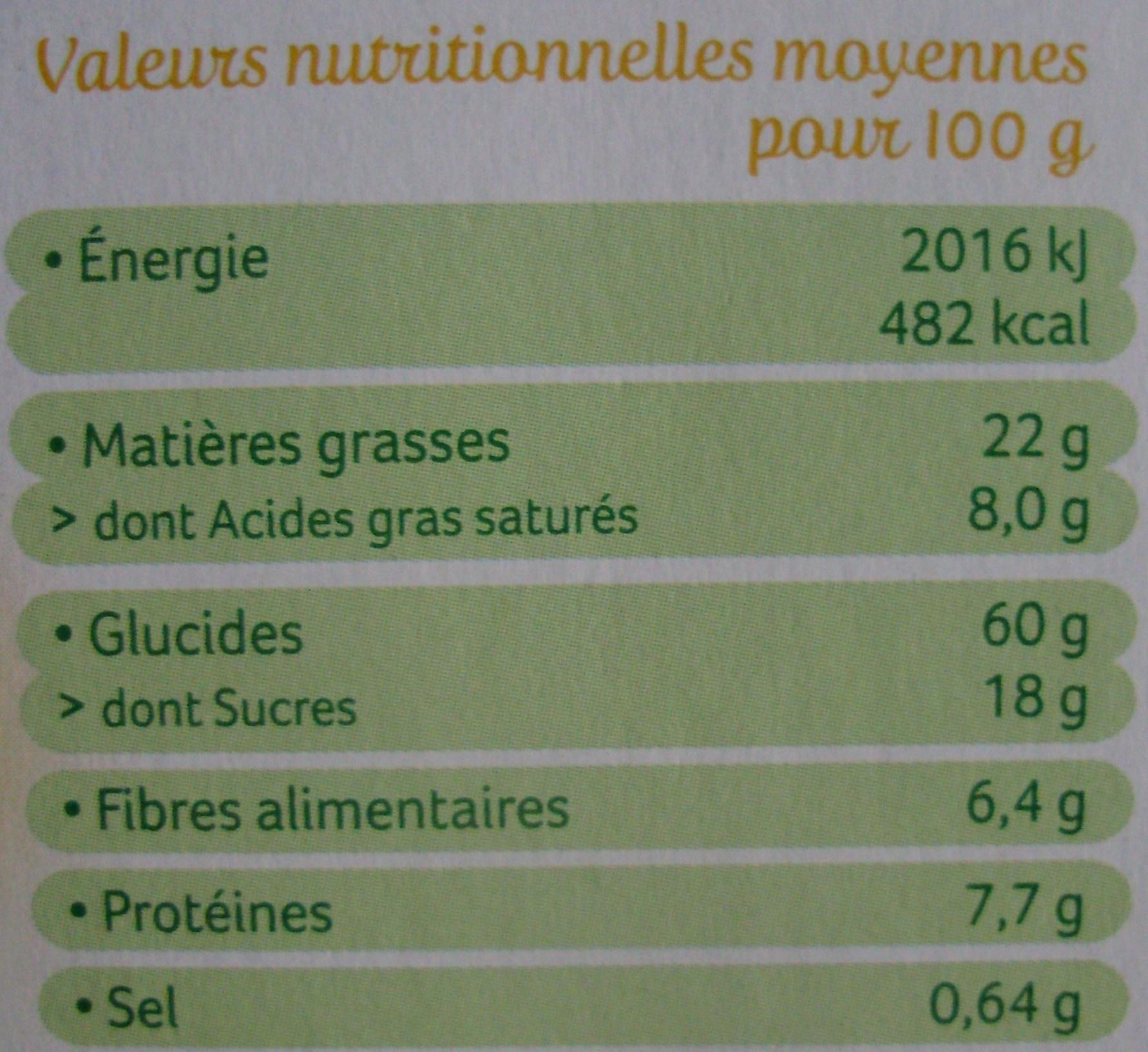 Palets de Céréales au Riz Coco & saveur Citron Bio - Nutrition facts