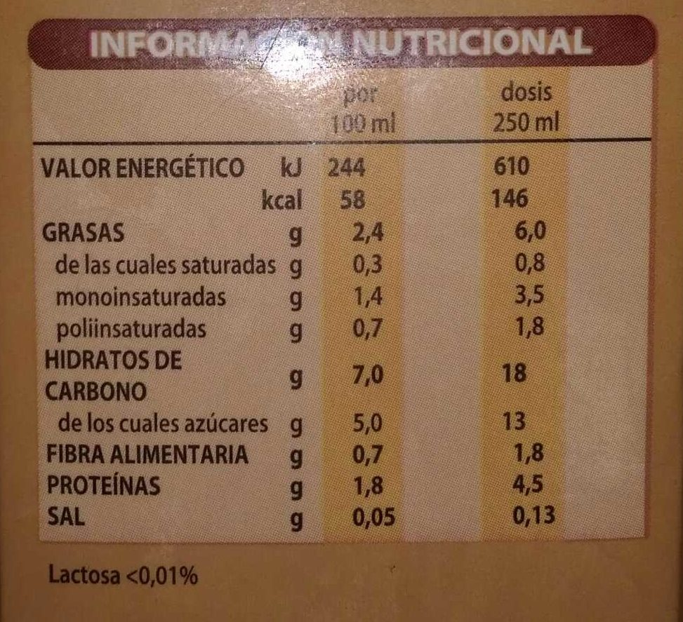 Leche almendra - Nutrition facts