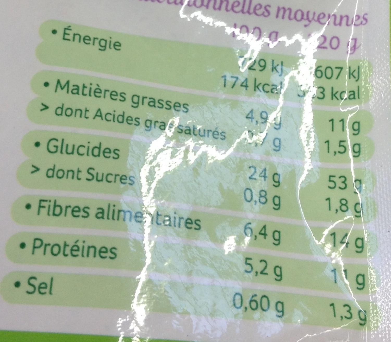 Quinoa au naturel - Informations nutritionnelles