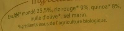 Blé, Riz rouge, Quinoa au naturel - Ingrédients