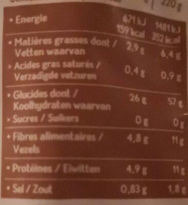 Blé riz rouge quinoa au naturel - Valori nutrizionali - fr