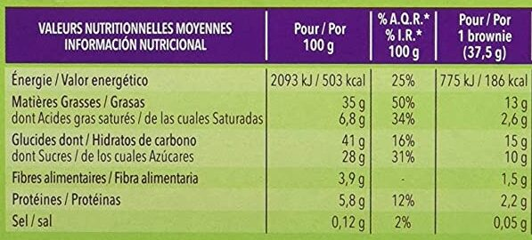 Brownies Chocolat Noisette - Informations nutritionnelles - fr
