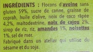 Müesli croustillant avoine sans gluten - Ingrédients - fr
