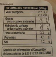 Hamburguesa vegetal de cereales orientales ecológica - Informació nutricional - es