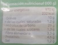 Hamburguesa de cereales Oriental - Informació nutricional