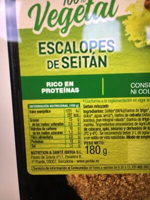 Escalopes de seitan - Informació nutricional