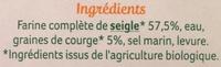 Pain complet de seigle aux graines de courges - Ingredienti - fr