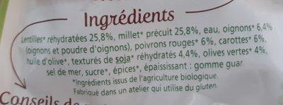 Cuisiné Lentilles, Millet & Petits légumes - Ingrédients - fr