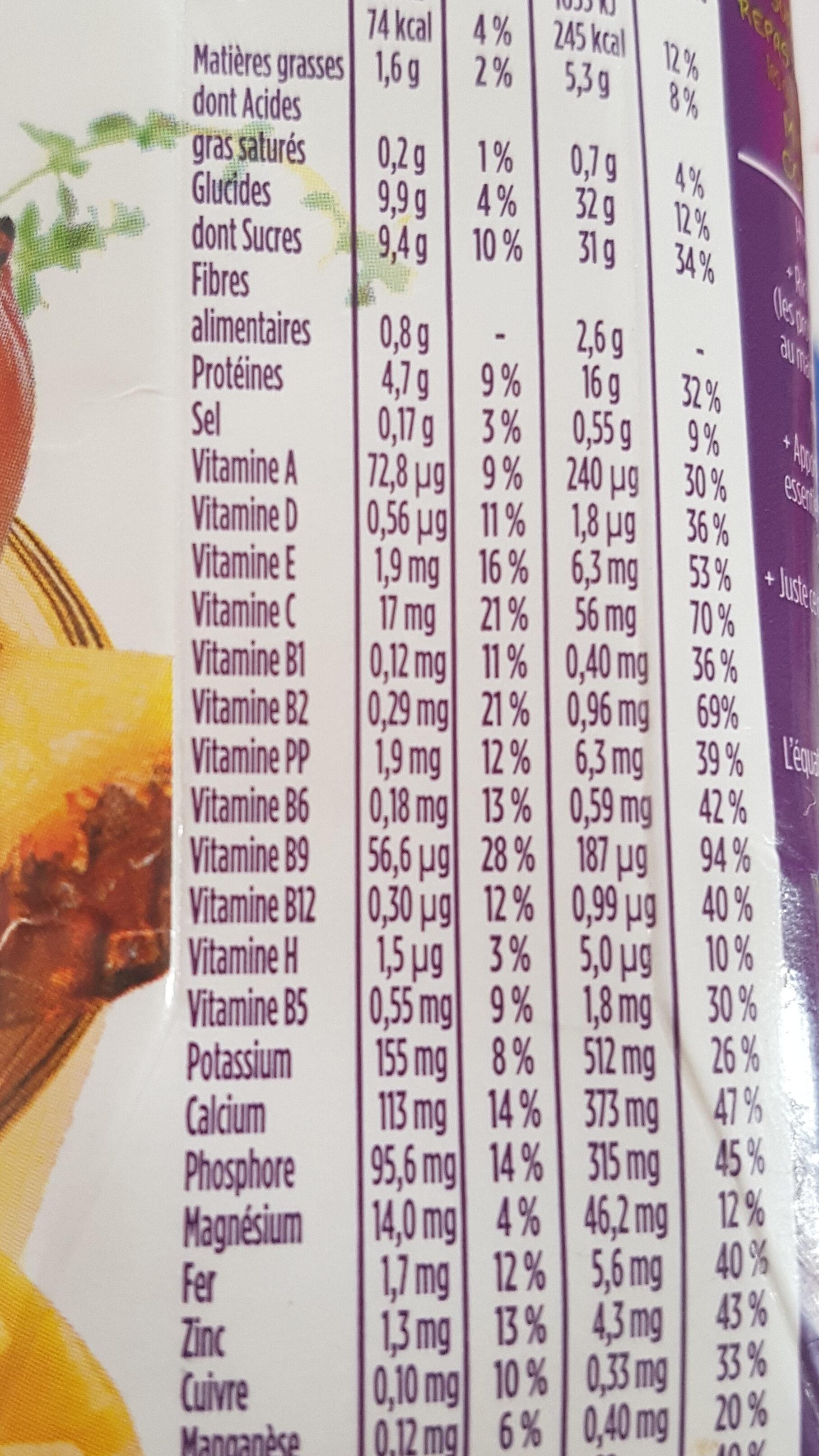 Repas complet saveur fruits exotiques - Informations nutritionnelles - fr