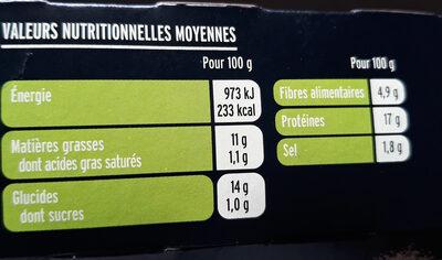Grill végétal - nuggets soja & blé - Nutrition facts