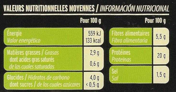 Grill Végétal Émincés Soja & Blé - Información nutricional - fr