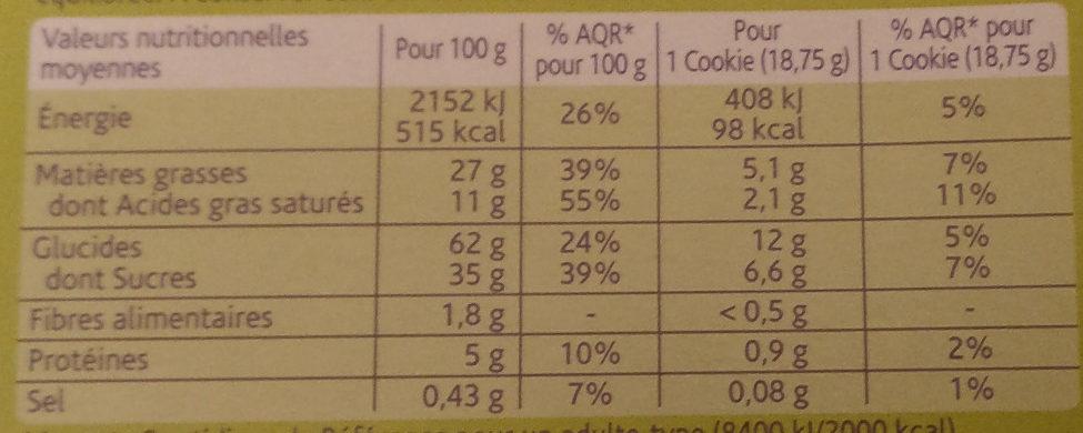 Cookies choco noisettes - Voedingswaarden - fr