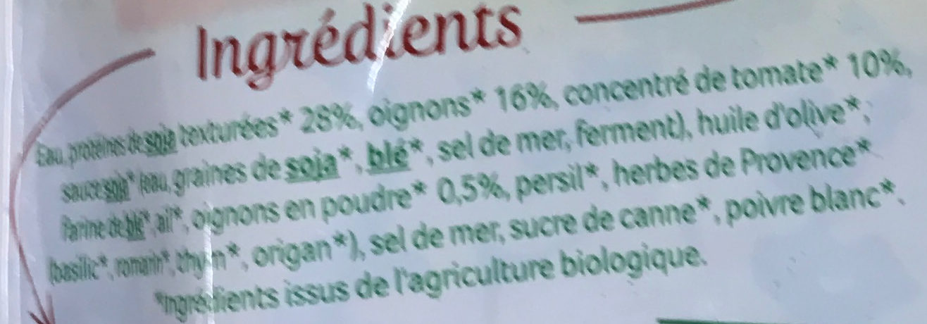 Haché végétal façon bolognaise au soja - Ingrediënten - fr