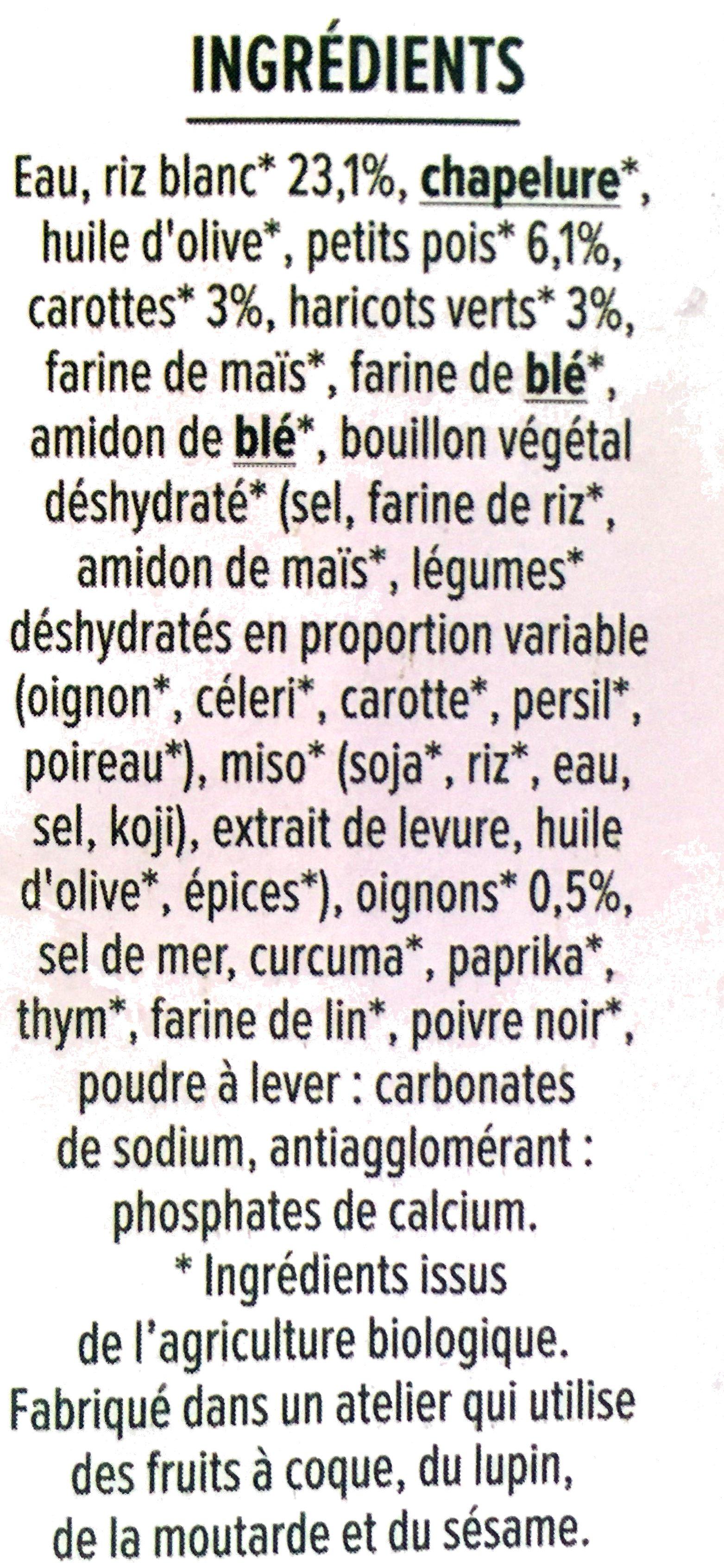 Bouchées moelleuses Riz Petits Légumes - Ingredients - fr