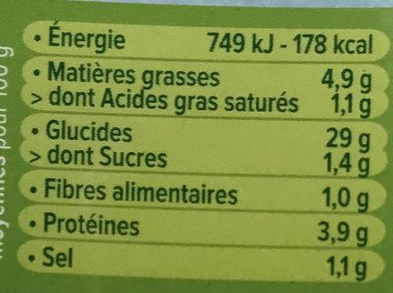 Bouchées moelleuses Riz Petits Légumes - Nutrition facts - fr