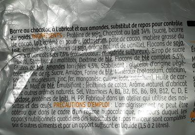 Milical Go - Barres Repas Chocolat saveur Abricot - Ingredients - fr