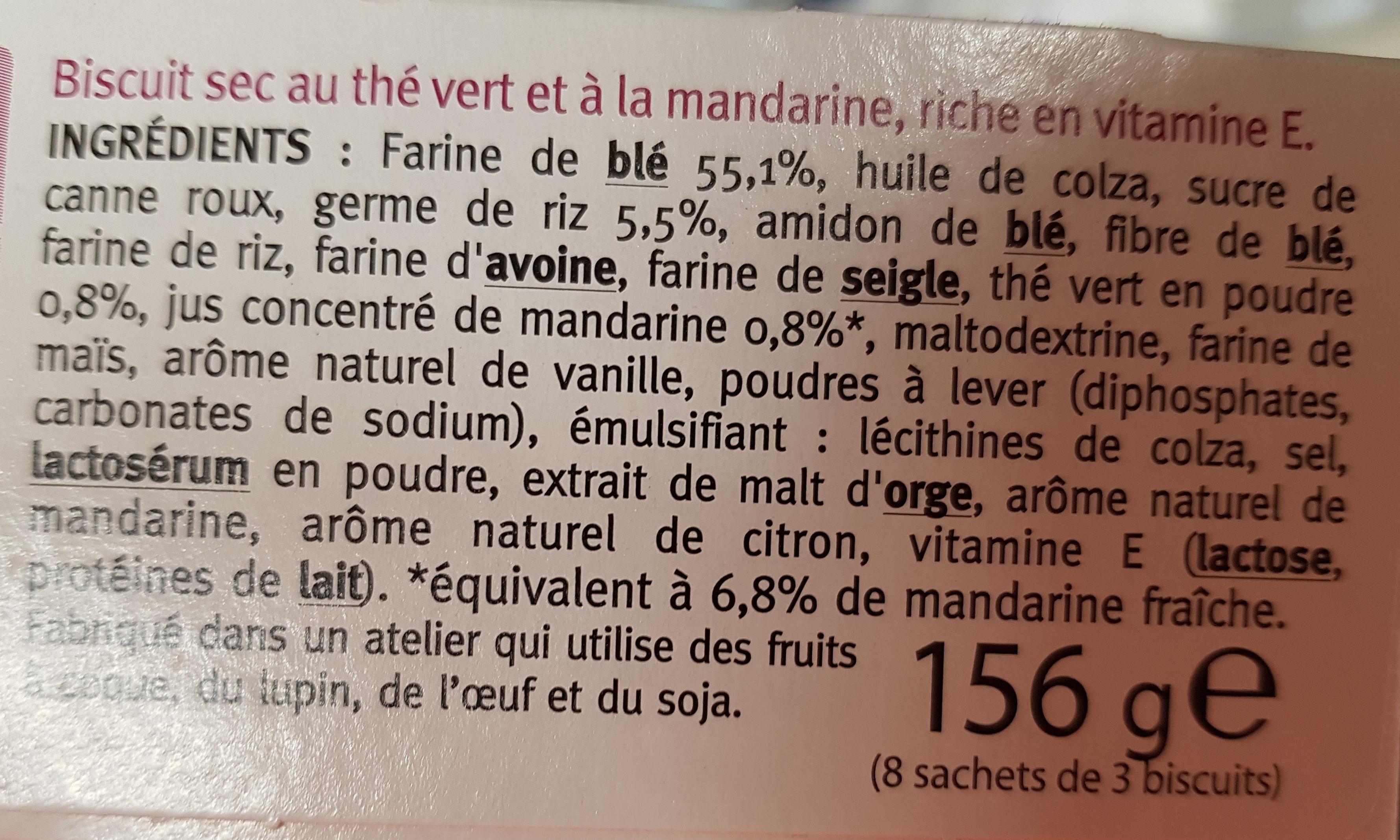 Sablé Thé Vert Mandarine au germe de riz - Ingredients