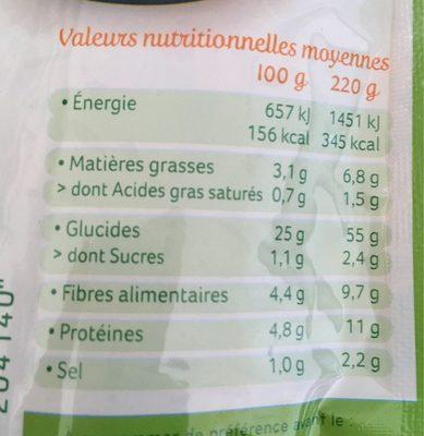 Cuisine riz et soja a l'espagnole - Informations nutritionnelles - fr