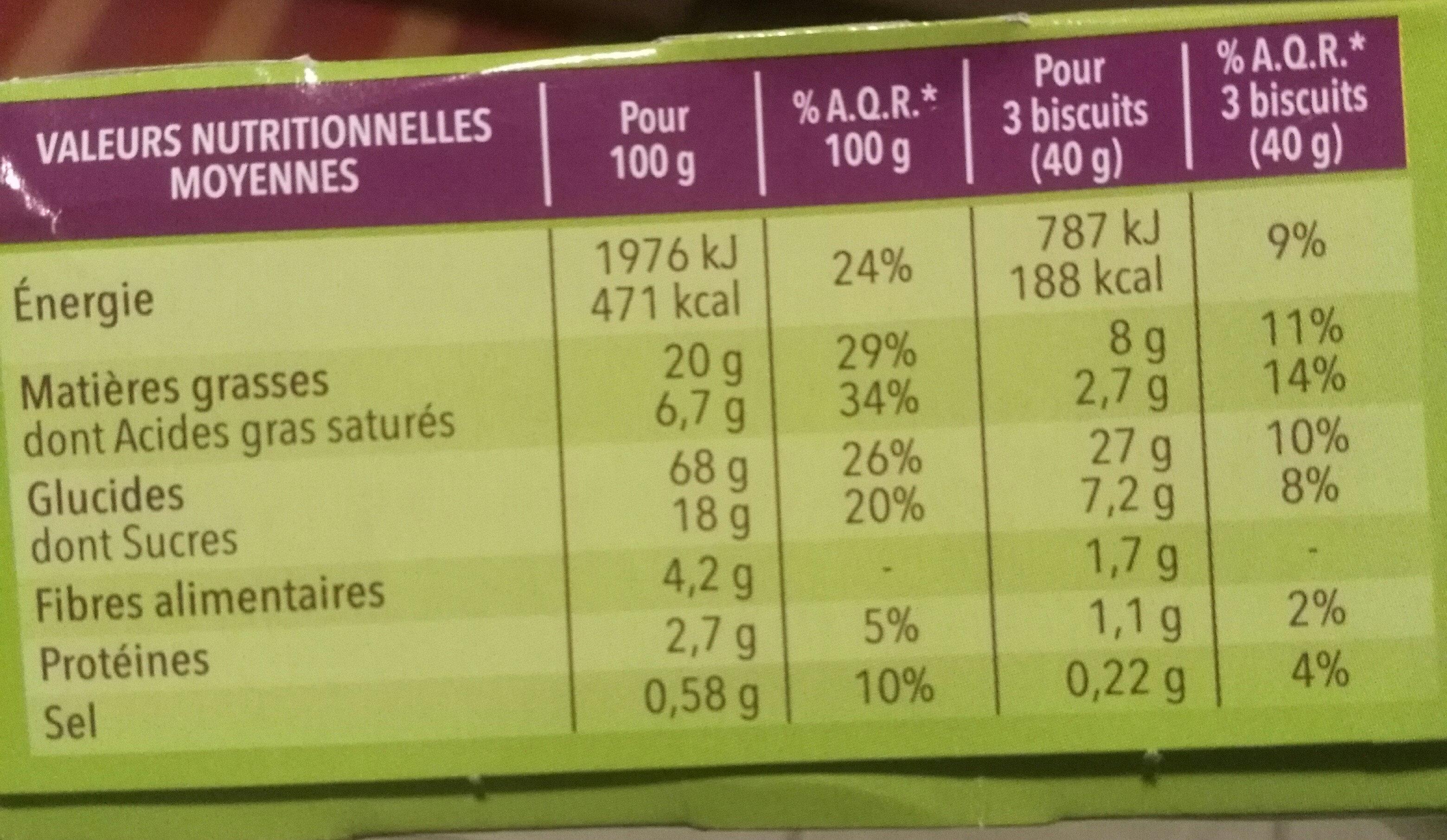 Biscuit coco citron - Voedingswaarden - fr