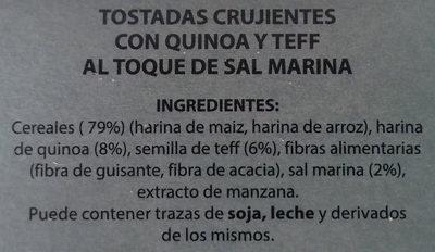 Tostadas crujientes de cereales y semillas Quinoa Teff - Ingredientes