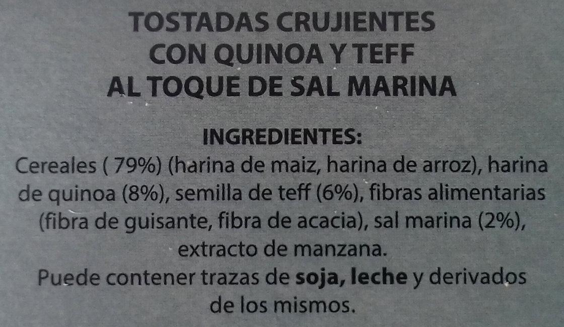 Tostadas crujientes de quinoa y semillas de teff - Ingredientes