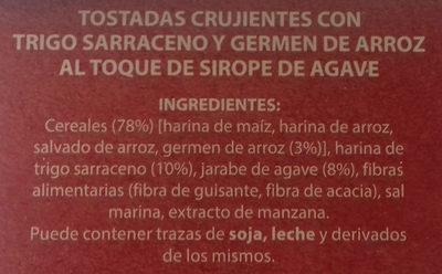 Tostadas crujientes de cereales y semillas - Ingredientes - es