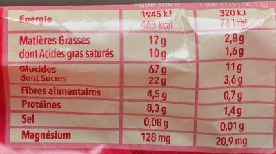 Galette riz chocolat noir - Valori nutrizionali - fr