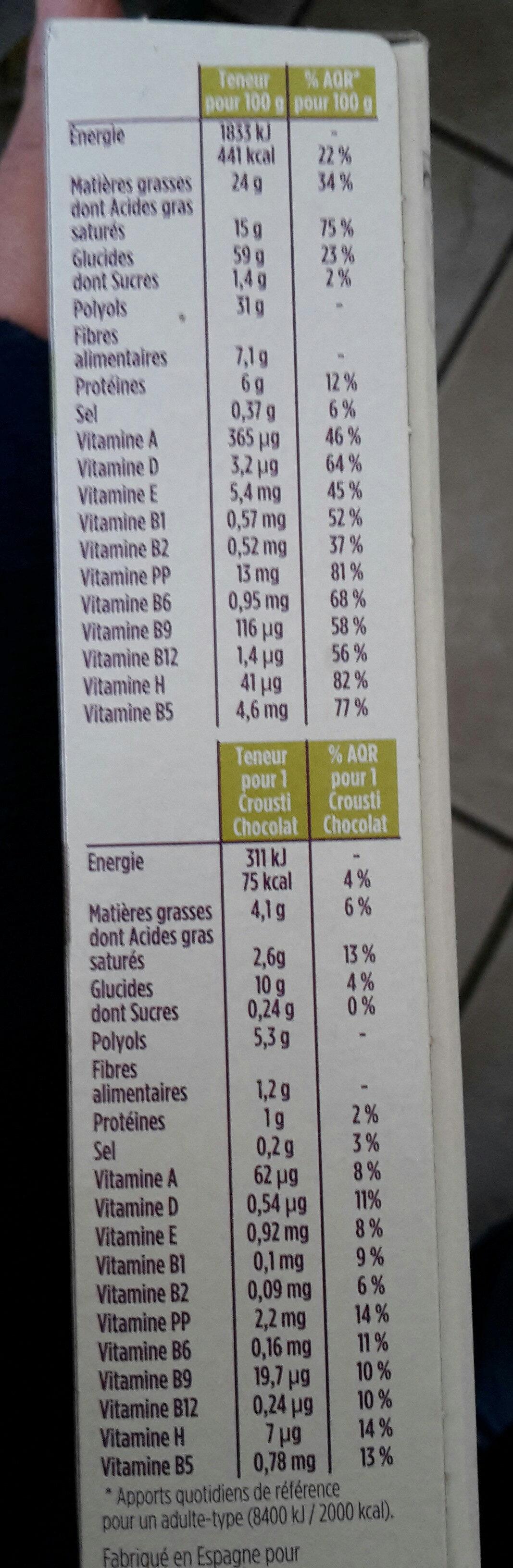 Pause gourmande crousti chocolat - Voedingswaarden - fr