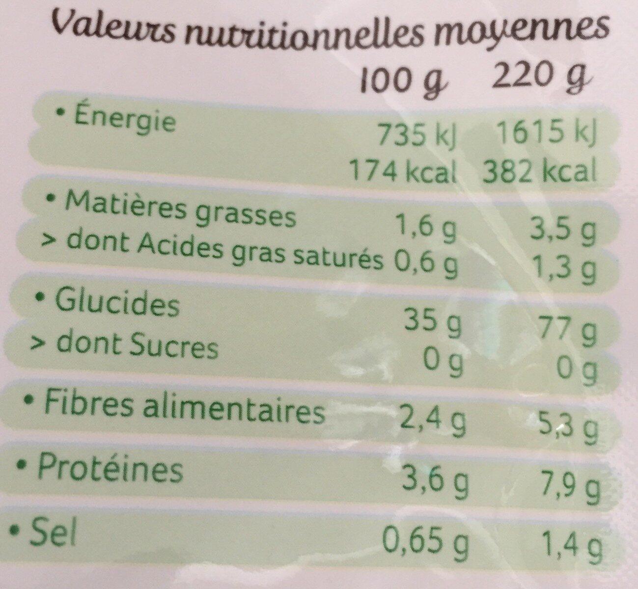 Trio de riz au naturel - Valori nutrizionali - fr