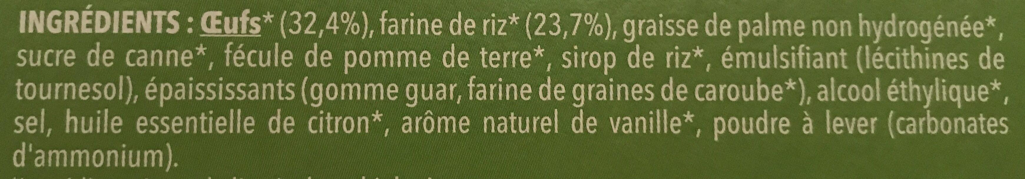 Madeleine saveur citron - Ingredients