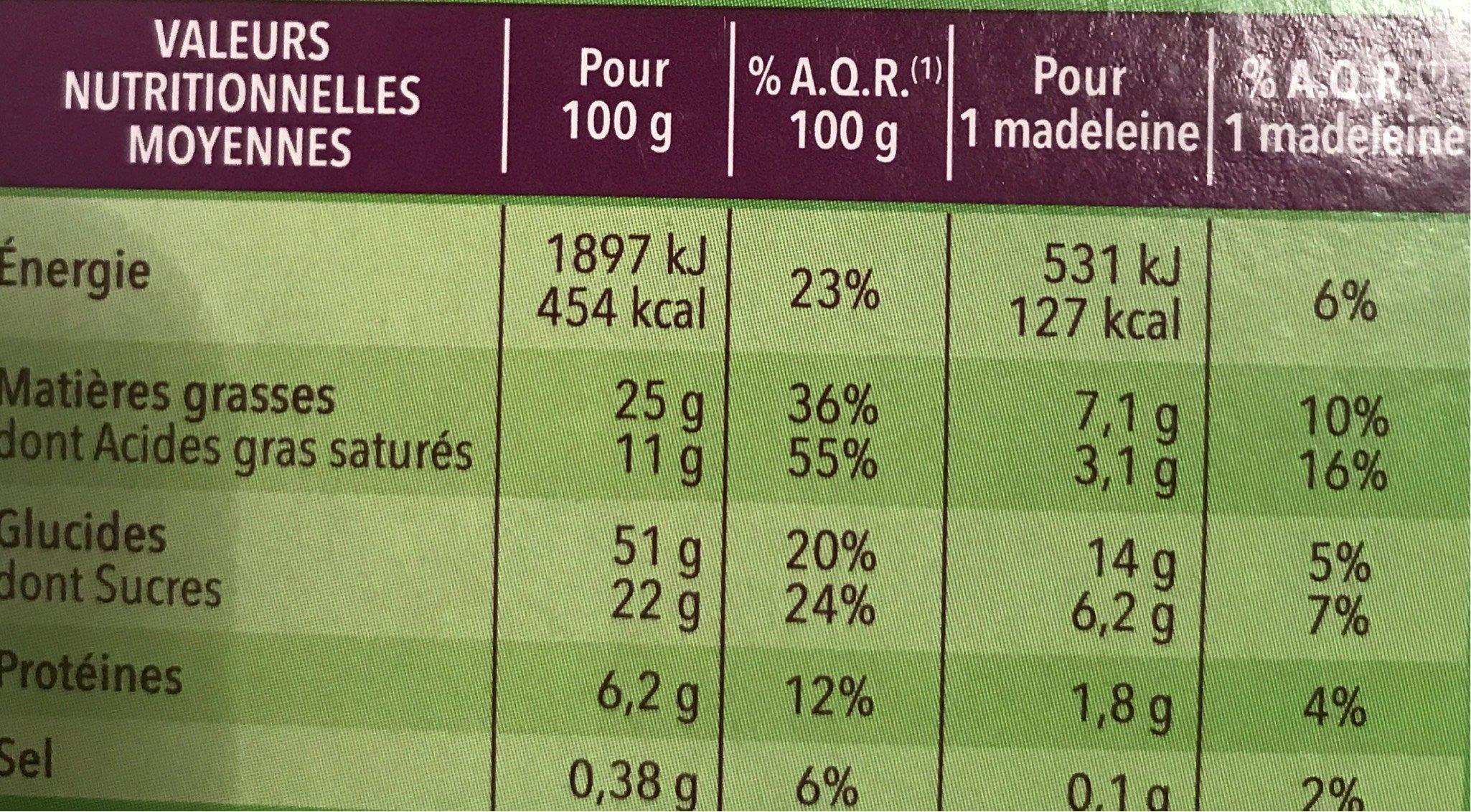 Madeleine saveur citron - Nutrition facts