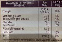 Tagliattelle au riz complet - Información nutricional