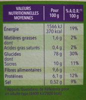 Gerblé & bio sans gluten - Informations nutritionnelles - fr