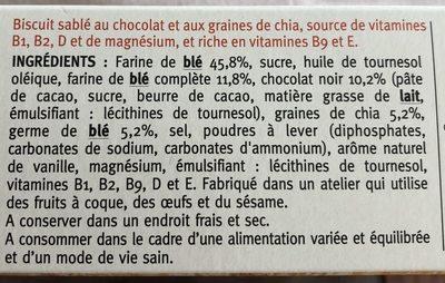 Sablé chocolat graines de chia - Ingrediënten