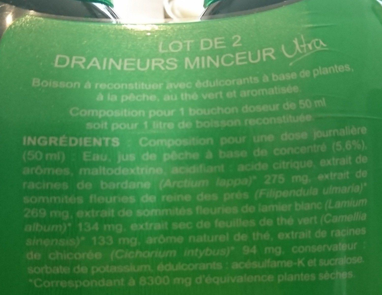 Milical - Draineur Thé Vert Pêche - Lot de 2 - Ingrediënten