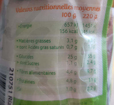 Riz & soja à l'espagnole - Nutrition facts