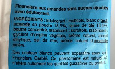 Financiers aux amandes sans sucres ajoutés - Ingrédients - fr
