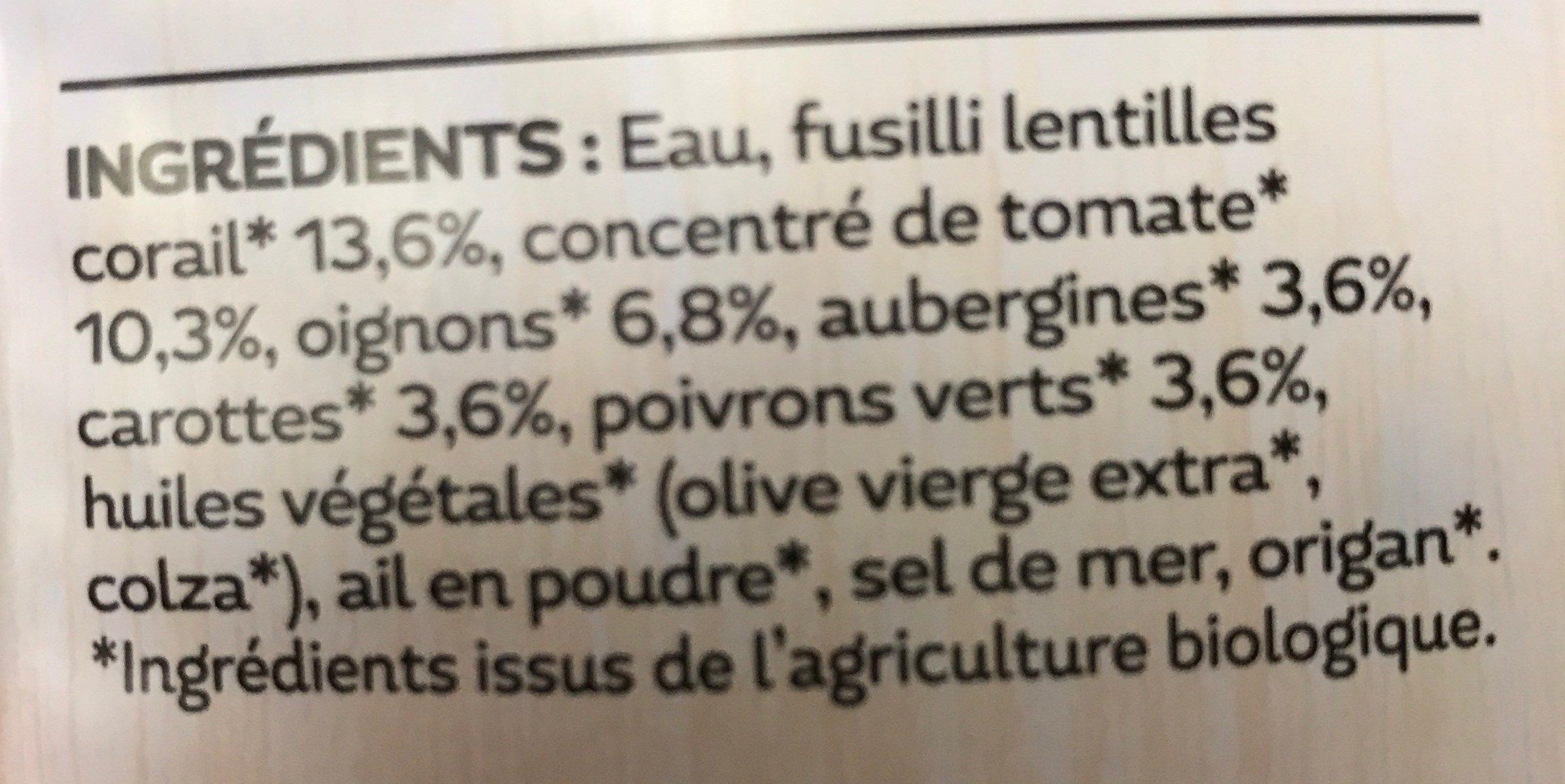 Fusilli de Lentilles Corail - Ingredienti - fr