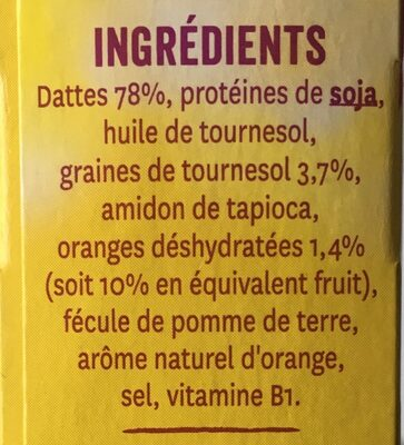 Barre Datte Orange et Graines de Tournesol - Ingredients
