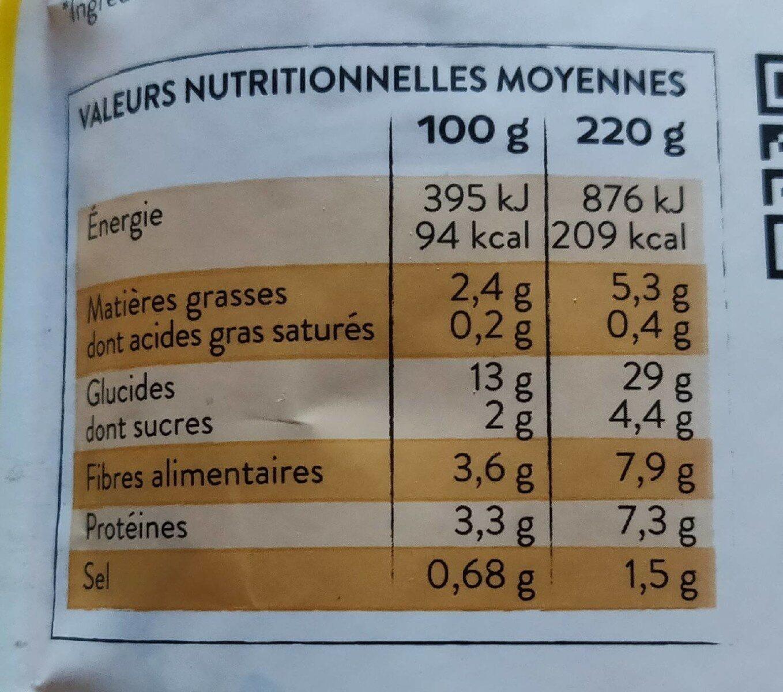 Quinoa Royal - Carottes jaunes et cumin - Valori nutrizionali - fr