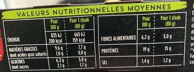 Steak soja et blé barbecue - Informations nutritionnelles - fr