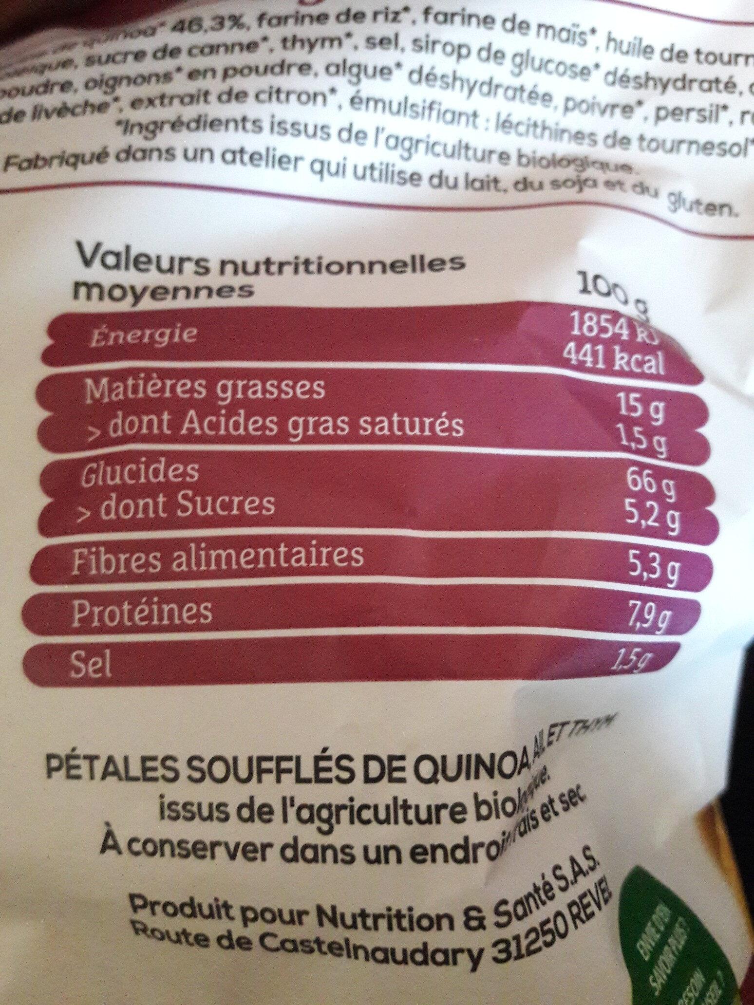 Chips ail & thym - Valori nutrizionali - fr