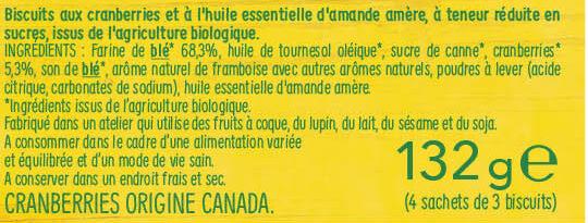 Gerblé bio cranberry saveur amande - Ingrédients - fr