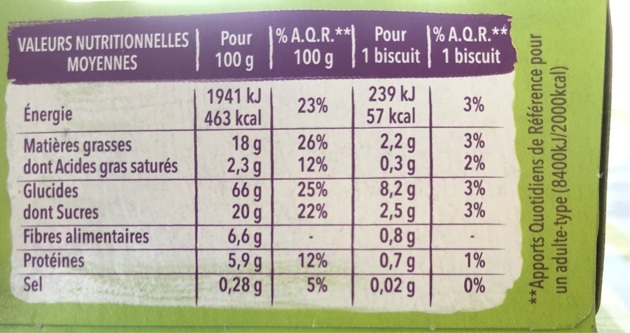 Biscuits Cacao Amande - Informations nutritionnelles - fr