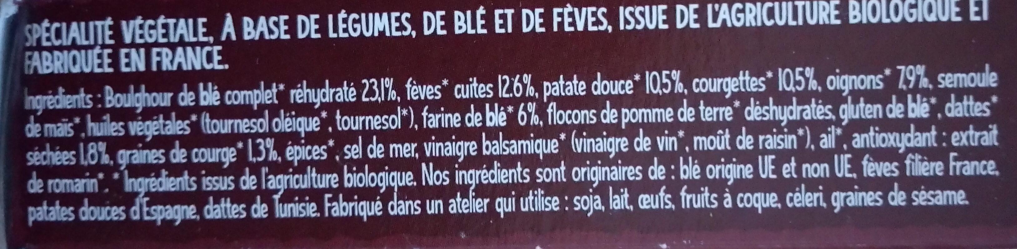Galettes de fèves & blé patate douce, dattes et épices douces - Ingredienti - fr