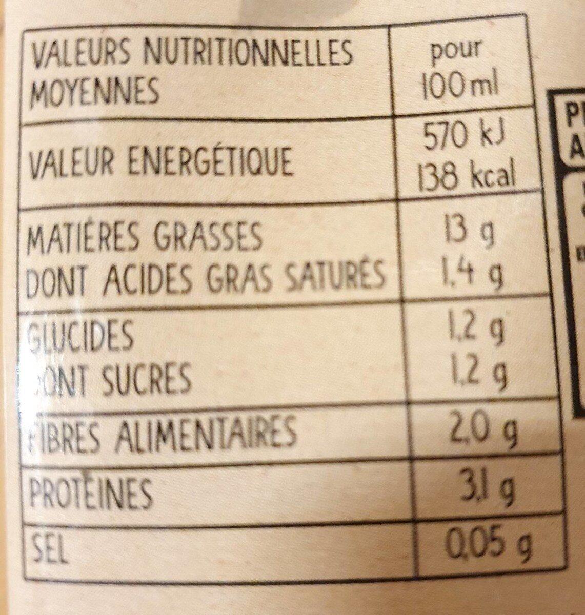 Soja cuisine fluide Cereal Bio - Valori nutrizionali - fr
