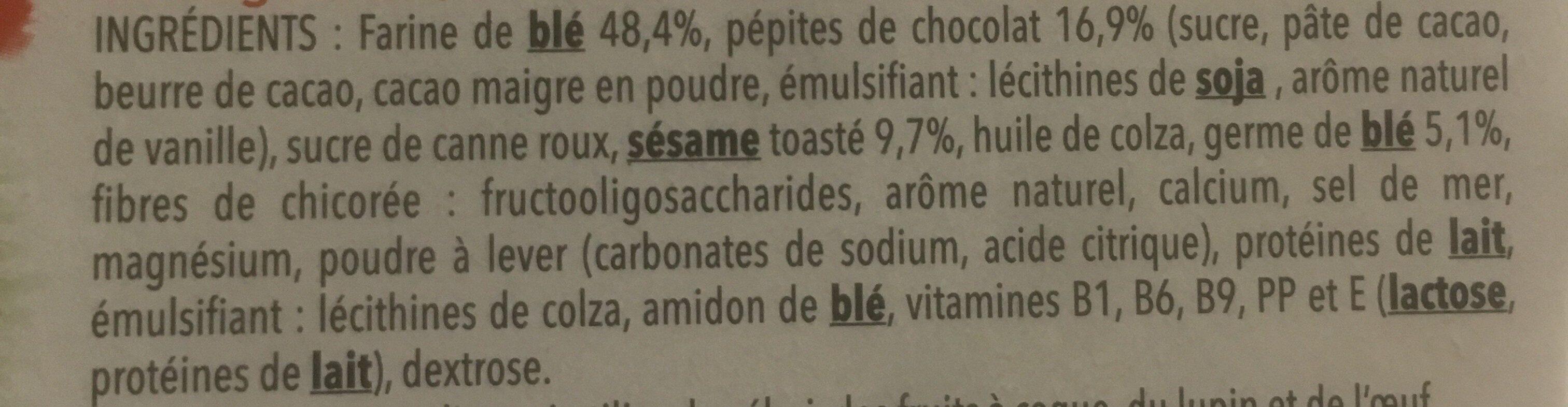 Biscuit Sésame chocolat - Ingrediënten - fr