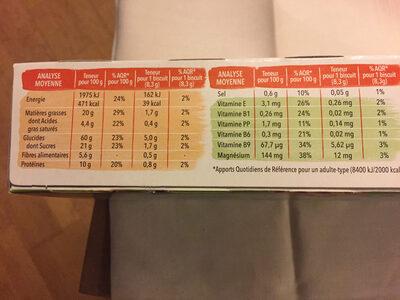 Biscuit Sésame chocolat - Informations nutritionnelles - fr