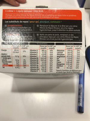 Milical Go - Coupelle repas vanille caramel - Voedingswaarden