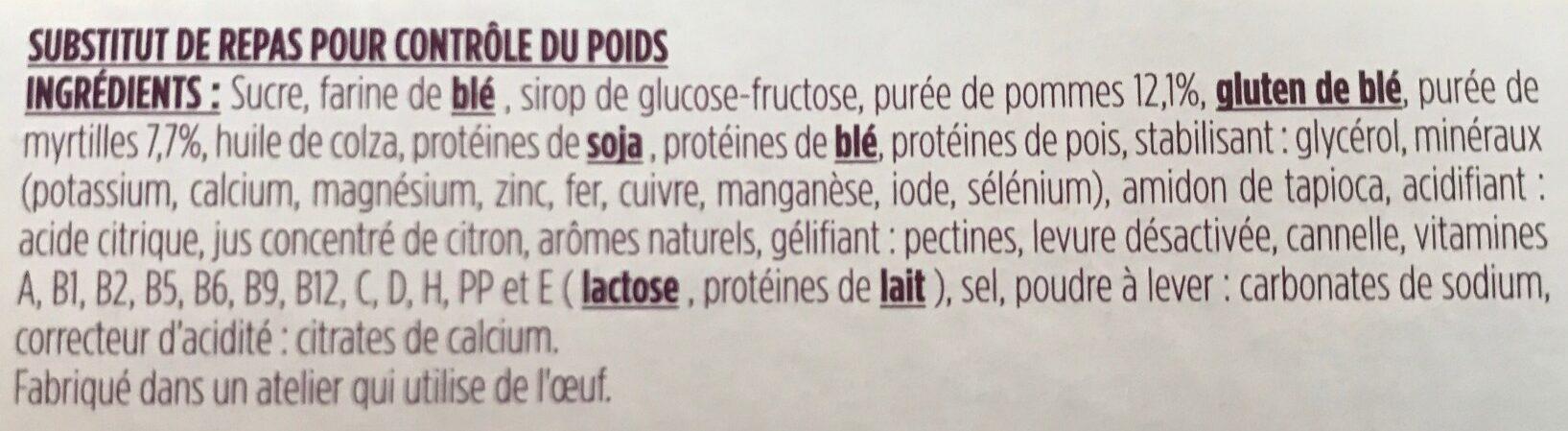 Barre Pomme Myrtille avec arôme naturel - Ingredients - fr